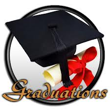 Graduation hat, gown and certificate, with the word graduation written across the image