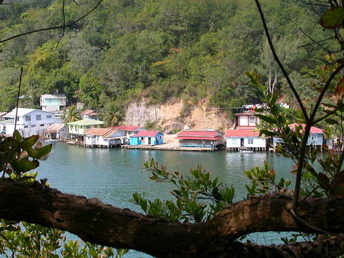 View of Oak Ridge, Roatan Laurence Hill colorful homes built on the edge of the water